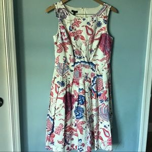 Talbots fit and flare dress floral print